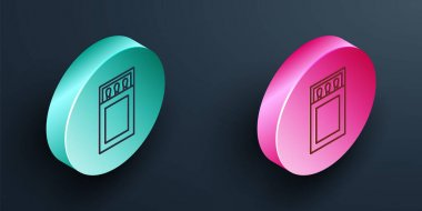 Isometric line Open matchbox and matches icon isolated on black background. Turquoise and pink circle button. Vector. icon