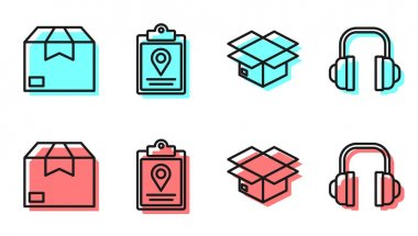 Set line Carton cardboard box, Carton cardboard box, Document tracking marker system and Headphones icon. Vector. icon