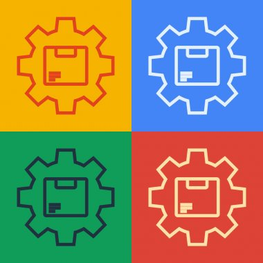 Pop art line Gear wheel with package box icon isolated on color background. Box, package, parcel sign. Delivery and packaging.  Vector Illustration. icon