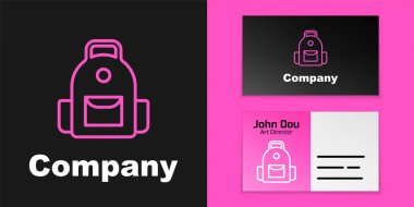 Pink line School backpack icon isolated on black background. Logo design template element. Vector. icon