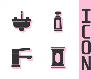 Set Wet wipe pack, Washbasin with water tap, Water and Tube of toothpaste icon. Vector. icon