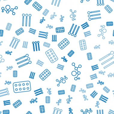 Set line Pills in blister pack, Cannabis molecule and Matches on seamless pattern. Vector. icon