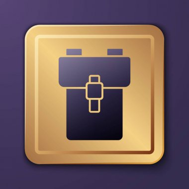 Purple School backpack icon isolated on purple background. Gold square button. Vector. icon