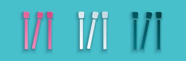 Paper cut Matches icon isolated on blue background. Paper art style. Vector. icon