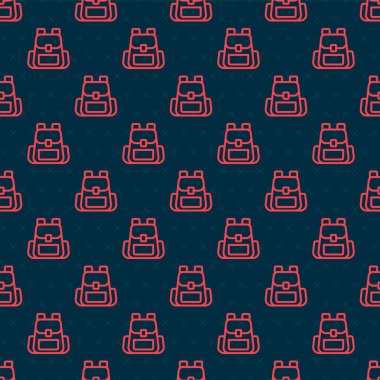 Red line Hiking backpack icon isolated seamless pattern on black background. Camping and mountain exploring backpack.  Vector. icon