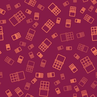 Brown line Chocolate bar icon isolated seamless pattern on red background.  Vector. icon