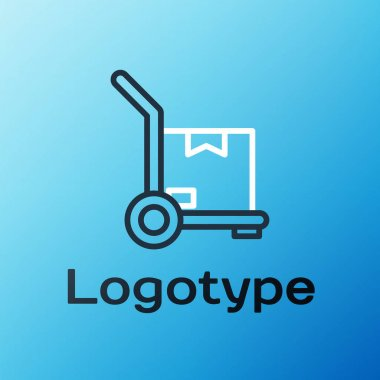 Line Hand truck and boxes icon isolated on blue background. Dolly symbol. Colorful outline concept. Vector Illustration. icon