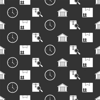 Set Warehouse, Cardboard box with traffic symbol, Fast time delivery and Envelope with magnifying glass on seamless pattern. Vector. icon
