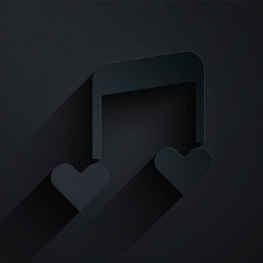Paper cut Music note, tone with hearts icon isolated on black background. Valentines day. Paper art style. Vector.