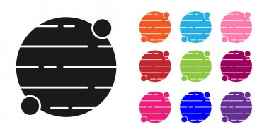 Black Planet icon isolated on white background. Set icons colorful. Vector.
