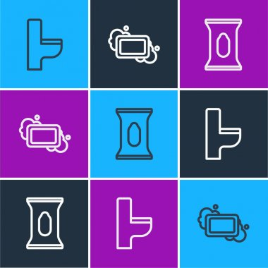 Set line Toilet bowl, Wet wipe pack and Bar of soap icon. Vector. icon