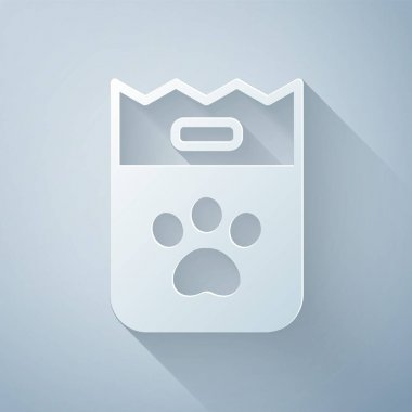 Paper cut Bag of food for dog icon isolated on grey background. Dog or cat paw print. Food for animals. Pet food package. Paper art style. Vector. icon