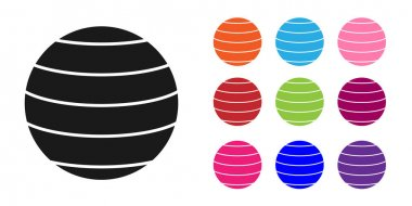 Black Planet Venus icon isolated on white background. Set icons colorful. Vector.