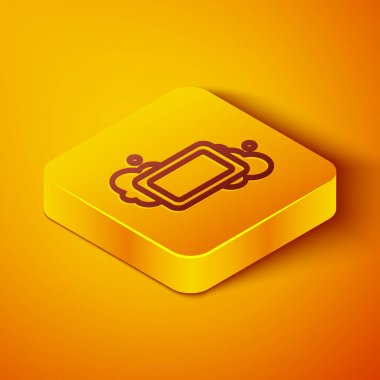 Isometric line Bar of soap icon isolated on orange background. Soap bar with bubbles. Yellow square button. Vector. icon