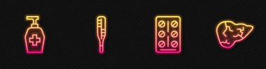 Set line Pills in blister pack, Liquid antibacterial soap, Medical thermometer and Hepatitis virus. Glowing neon icon. Vector. icon