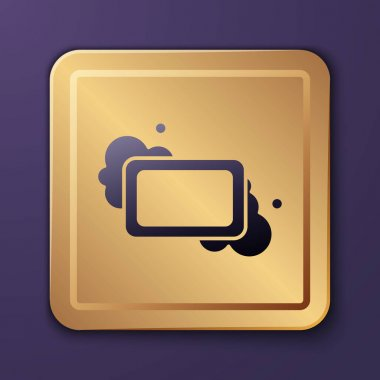 Purple Bar of soap icon isolated on purple background. Soap bar with bubbles. Gold square button. Vector. icon