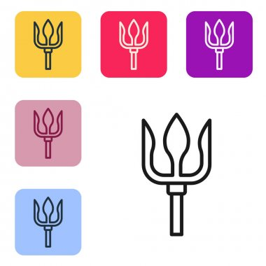 Black line Neptune Trident icon isolated on white background. Set icons in color square buttons. Vector.