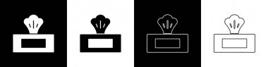 Set Wet wipe pack icon isolated on black and white background.  Vector. icon