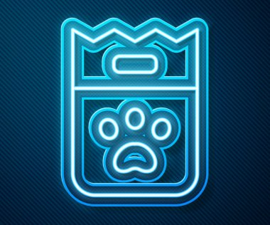 Glowing neon line Bag of food for dog icon isolated on blue background. Dog or cat paw print. Food for animals. Pet food package.  Vector. icon