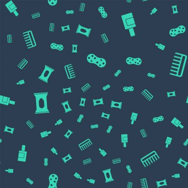 Set Sponge, Bottle for cleaning agent, Wet wipe pack and Hairbrush on seamless pattern. Vector. icon