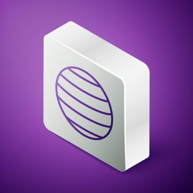 Isometric line Planet Venus icon isolated on purple background. Silver square button. Vector.