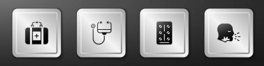Set First aid kit, Stethoscope, Pills in blister pack and Man coughing icon. Silver square button. Vector. icon