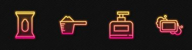Set line Bottle of shampoo, Wet wipe pack, Washing powder and Bar soap. Glowing neon icon. Vector. icon