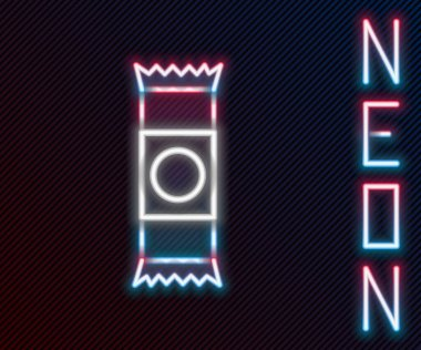 Glowing neon line Chocolate bar icon isolated on black background. Colorful outline concept. Vector Illustration. icon