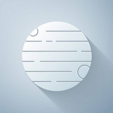 Paper cut Planet icon isolated on grey background. Paper art style. Vector.