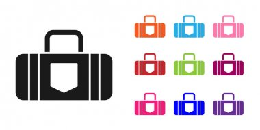Black Suitcase for travel icon isolated on white background. Traveling baggage sign. Travel luggage icon. Set icons colorful. Vector Illustration. icon