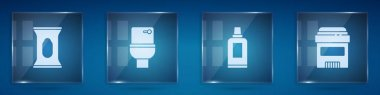 Set Wet wipe pack, Toilet bowl, Bottle for cleaning agent and Antiperspirant deodorant roll. Square glass panels. Vector. icon
