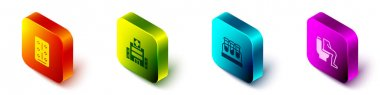 Set Isometric Pills in blister pack, Medical hospital building, Test tube with blood and Constipation icon. Vector. icon