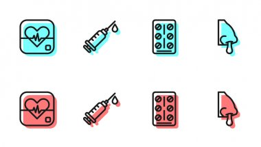 Set line Pills in blister pack, Heart rate, Syringe and Runny nose icon. Vector. icon