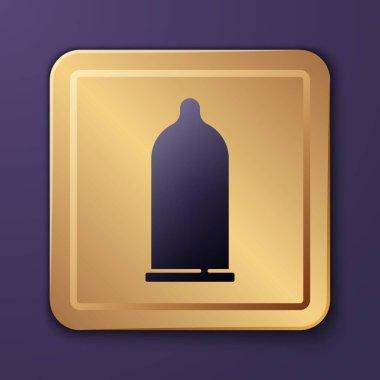 Purple Condom safe sex icon isolated on purple background. Safe love symbol. Contraceptive method for male. Gold square button. Vector. icon