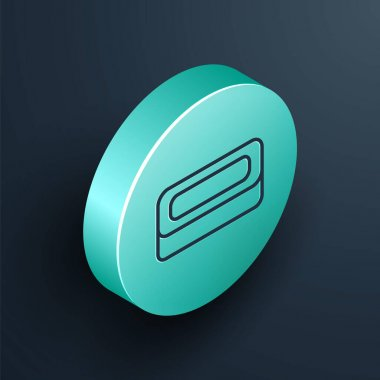 Isometric line Bar of soap icon isolated on black background. Soap bar with bubbles. Turquoise circle button. Vector. icon