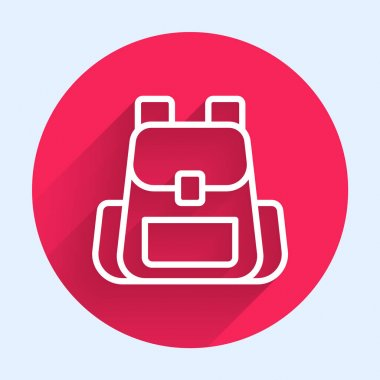 White line Hiking backpack icon isolated with long shadow. Camping and mountain exploring backpack. Red circle button. Vector. icon