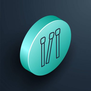 Isometric line Matches icon isolated on black background. Turquoise circle button. Vector. icon