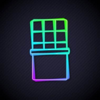 Glowing neon line Chocolate bar icon isolated on black background.  Vector. icon