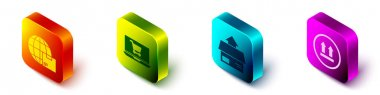Set Isometric Worldwide shipping and box, Shopping cart on laptop, Carton cardboard box and This side up icon. Vector. icon
