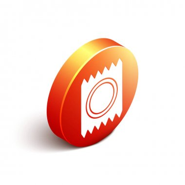 Isometric Condom in package safe sex icon isolated on white background. Safe love symbol. Contraceptive method for male. Orange circle button. Vector. icon