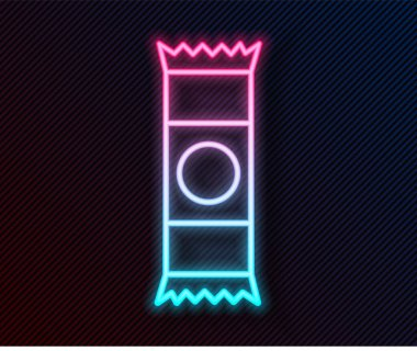 Glowing neon line Chocolate bar icon isolated on black background.  Vector Illustration. icon