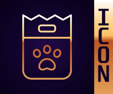 Gold line Bag of food for dog icon isolated on black background. Dog or cat paw print. Food for animals. Pet food package.  Vector. icon