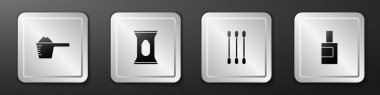 Set Washing powder, Wet wipe pack, Cotton swab for ears and Bottle cleaning agent icon. Silver square button. Vector. icon