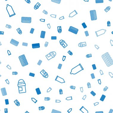 Set line Antiperspirant deodorant roll, Condom and Hairbrush on seamless pattern. Vector. icon
