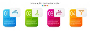 Set line Basin with soap suds, Rubber plunger, Wet wipe pack and cleaner. Business infographic template. Vector. icon