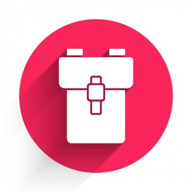 White School backpack icon isolated with long shadow. Red circle button. Vector. icon