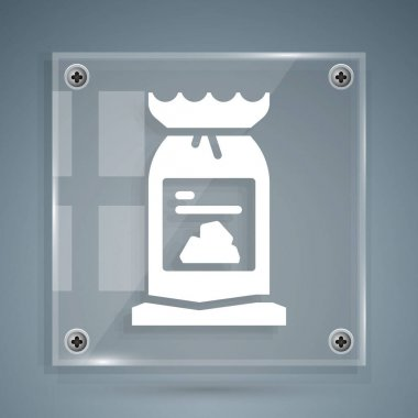 White Barbecue coal bag icon isolated on grey background. Square glass panels. Vector. icon