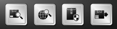 Set Search package, Magnifying glass with globe, Envelope with shield and Cardboard box with traffic symbol icon. Silver square button. Vector. icon