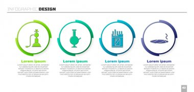 Set Hookah, Glass bong for smoking marijuana, Open cigarettes pack box and Cigar with smoke. Business infographic template. Vector. icon