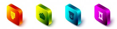 Set Isometric Cleaning service, Basin with soap suds, Epilator and Wet wipe pack icon. Vector. icon